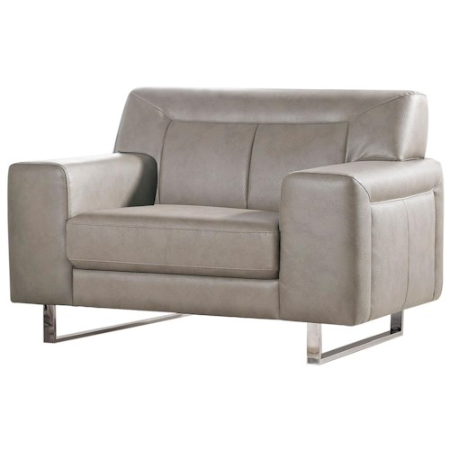 Diamond Sofa Vera Leatherette Chair with Chrome Metal Leg and Tufted Detail