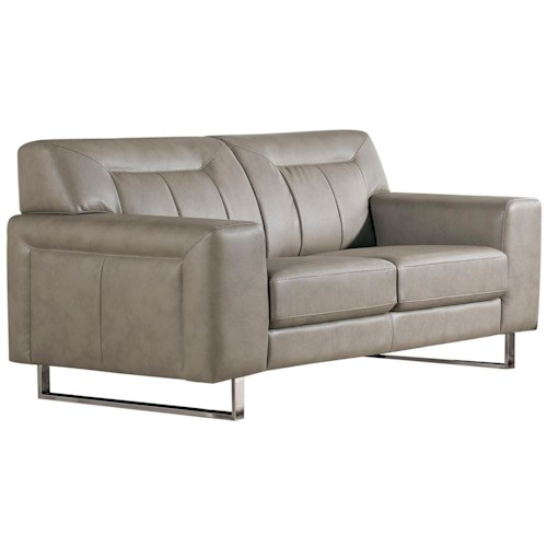Diamond Sofa Vera Leatherette Loveseat with Chrome Metal Base and Tufted Detail
