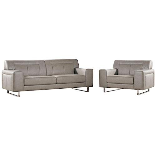 Diamond Sofa Vera Leatherette Sofa/Chair 2PC Set with Chrome Metal Leg