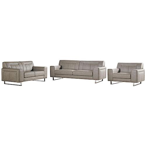 Diamond Sofa Vera Leatherette Sofa/Loveseat/Chair 3PC Set with Chrome Metal Leg