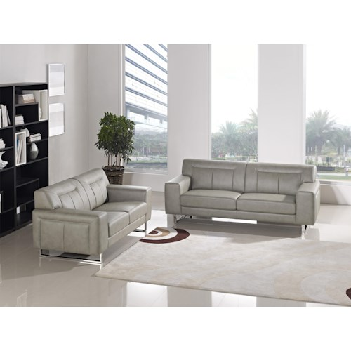 Diamond Sofa Vera Leatherette Sofa/Loveseat 2PC Set with Chrome Metal Leg