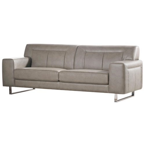 Diamond Sofa Vera Leatherette Sofa with Chrome Metal Base and Tufted Detail