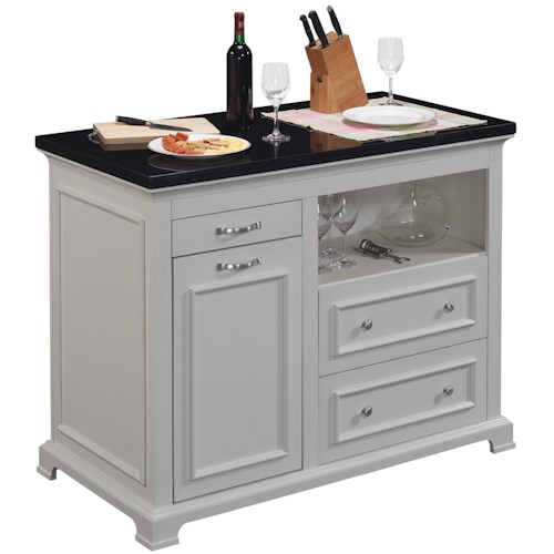 Bell'O The Chef Kitchen Island with Granite Counter Top and Pull Out Trash Bin
