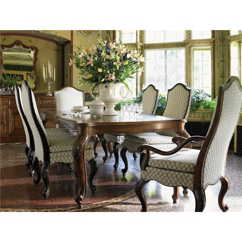 Drexel Heritage® At Home in Belle Maison Seven Piece Dining Set with Upholstered Chairs