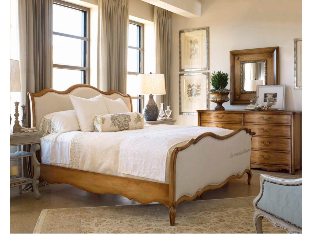 Shown in Room Setting with Nightstand, Sleigh Bed and Mirror