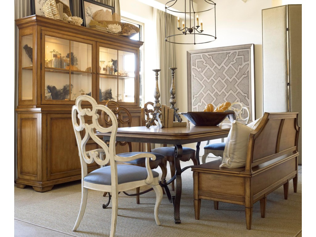 Shown in Room Setting with China, Table, Bench and Arm Chair
