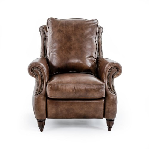 Drexel Heritage® Leather Pairings - Travis Power High Leg Recliner with Traditional Rolled Arms and Nailheads