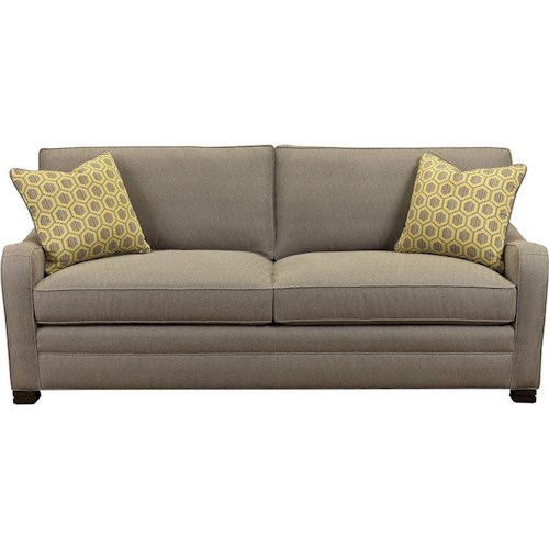 Drexel Heritage® Modern Options Seating Knights Customizable Sofa with Layered Block Feet and Modern Scroll Arms