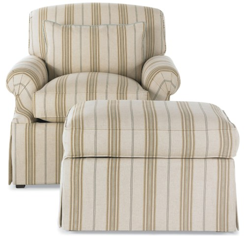 Drexel Heritage® Options Upholstery Program MacKenzie Chair and Ottoman w/ Skirt