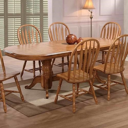 E.C.I. Furniture Dining  Double Pedestal Oak Dining Table w/ 4 Sidechairs