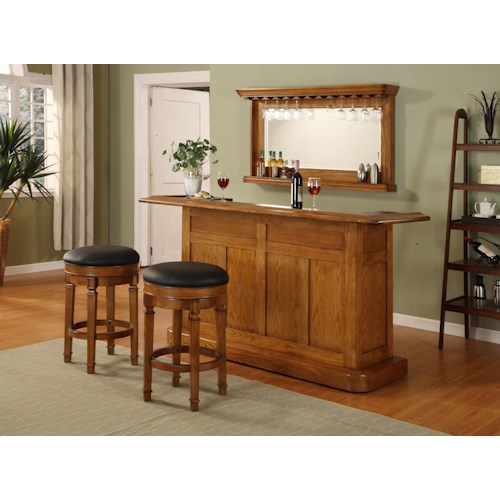 E.C.I. Furniture Bars Oak Bar with Wine Rack and Stainless Steel Sink and Mirror