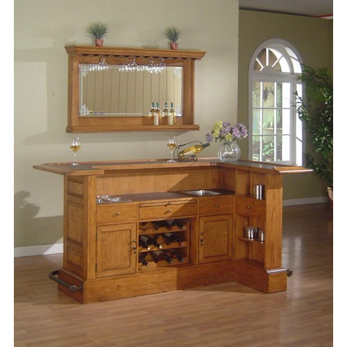 E.C.I. Furniture Bars Raised Panel Bar with Antique Brass Footrail and Mirror with Stemware Storage