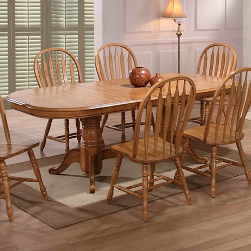 E.C.I. Furniture Dining  Solid Oak Double Pedestal Dining Table with 2 Leaves