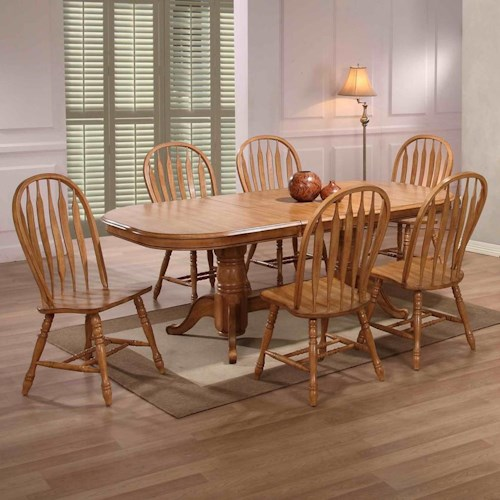E.C.I. Furniture Dining  Double Pedestal Oak Dining Table with 6 Bow Back Side Chairs
