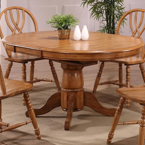 E.C.I. Furniture Dining  Solid Oak Single Pedestal Dining Table