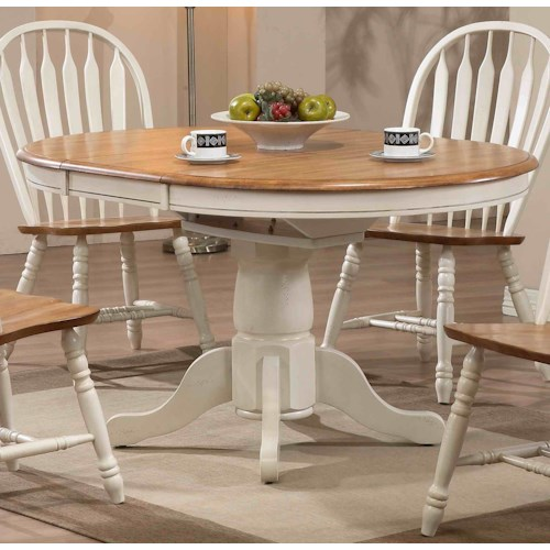 E.C.I. Furniture Dining  Round Single Pedestal Dining Table with White Trim