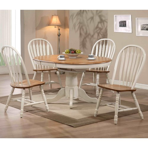 E.C.I. Furniture Dining  White-Trimmed Round Table with Arrow Back Side Chairs