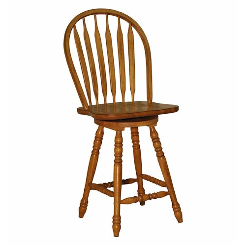 E.C.I. Furniture Dining  Large Bow Back Counter Stool - Rustic