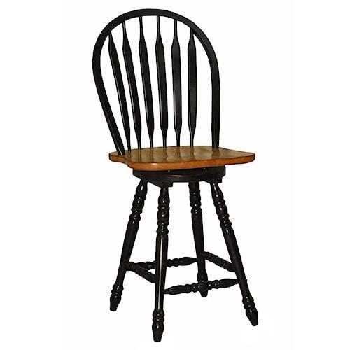 E.C.I. Furniture Dining  Large Bow Back Counter Stool - Black