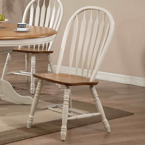 E.C.I. Furniture Dining  Arrow Back Solid Oak Side Chair with White Trim