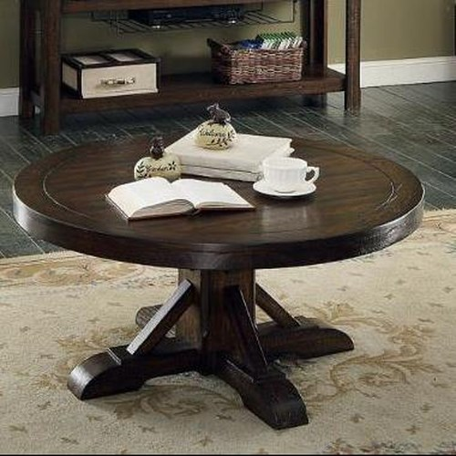 E.C.I. Furniture Gettysburg Round Cocktail Table with Panel Top