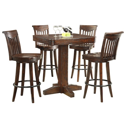E.C.I. Furniture Gettysburg 5 Piece Dining Pub Table and Stools