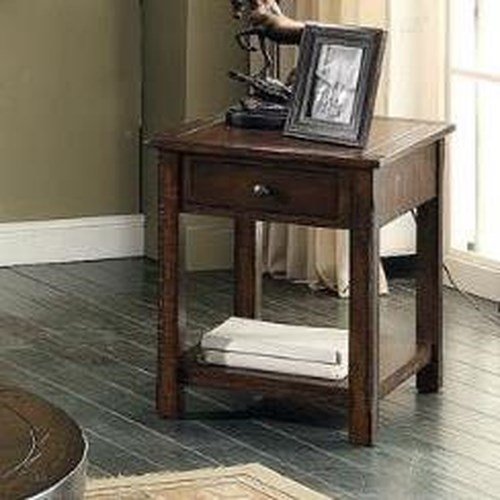 E.C.I. Furniture Gettysburg Rectangular End Table with Drawer and Shelf