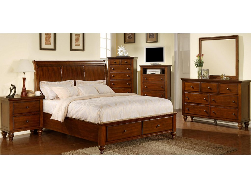 Shown with Nightstand, TV Chest, Mirror, Chest and Sleigh Bed