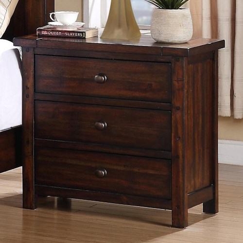 Elements International Boardwalk 3 Drawer Night Stand
