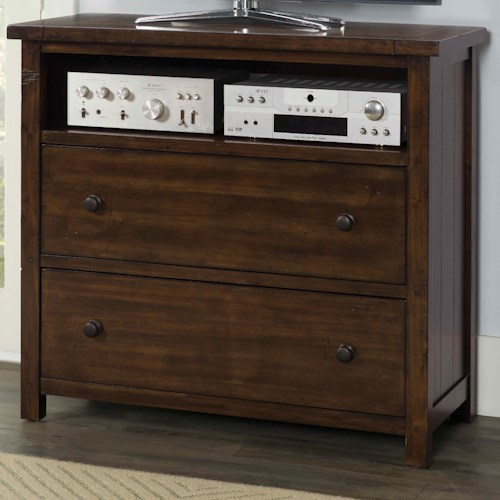Elements International Boardwalk 2 Drawer Media Chest with Open Compartment