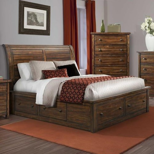 Elements International Boardwalk King Sleigh Storage Bed with Drawer Knobs