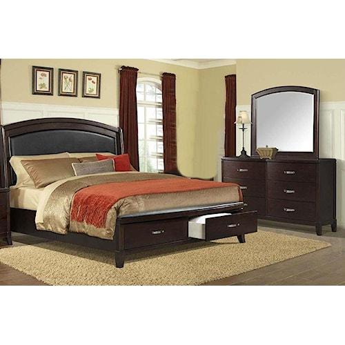 Elements International DELANEY Queen Storage Bed, Dresser