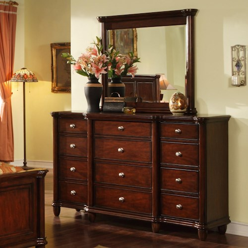 Morris Home Furnishings Lockport 12 Drawer Dresser & Landscape Mirror