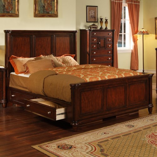 Morris Home Furnishings Lockport King Transitional Rich Brown Panel Bed with Storage Drawer Rails