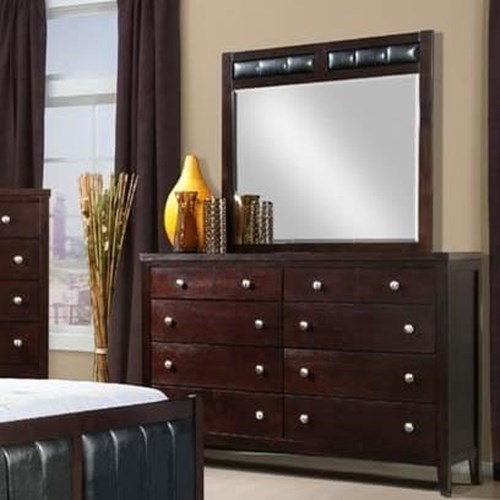 Elements International Lawrence Wood Framed Mirror with Upholstered Accent