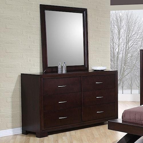 Elements International Raven Contemporary Dresser & Mirror