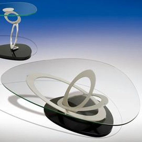 Elite Modern Fusion  Glass Top Cocktail Table w/Sculptural Base
