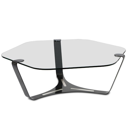 Elite Modern Triband Glass Top Cocktail Table