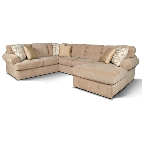 England Abbie Right Chaise Sectional Sofa with Large Cushions