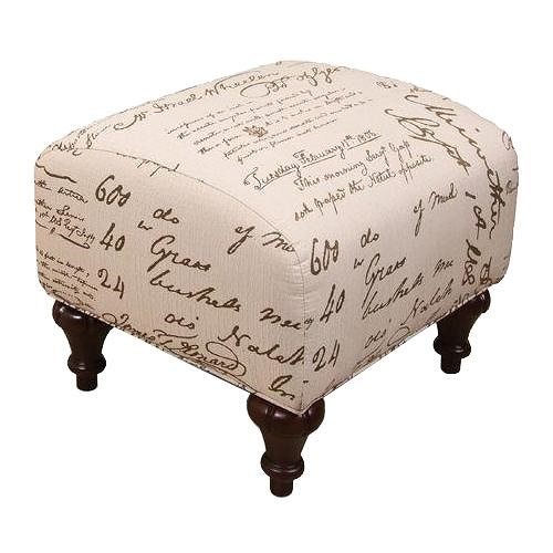 England Kelsey Traditional Cottage Styled Ottoman with Turned Wood Feet