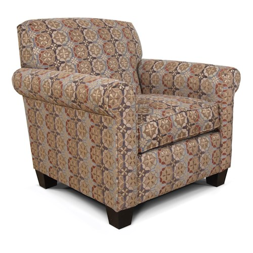 England Angie  Casual Rolled Arm Chair With Welt Cord Trim