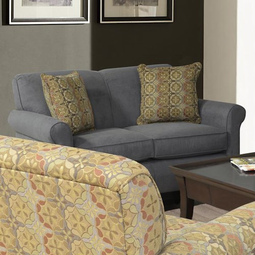 England Angie  Rolled Arm Love Seat With Accent Pillows