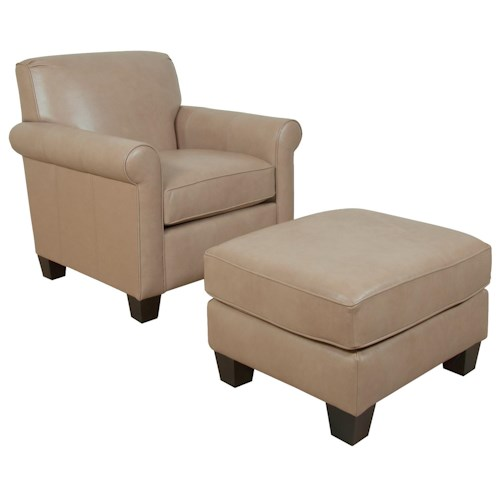 England Viola Casual Rolled Arm Chair and Ottoman Set With Welt Cord Trim