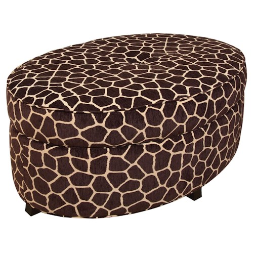 England Betty Betty Oval Storage Ottoman for Living Room Footrest with Storage Space