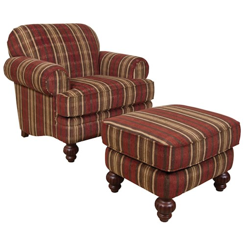 England Bill Decorative Chair and Ottoman Set with Transitional Cottage Style