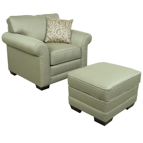 England Brantley Upholstered Stationary Chair and Ottoman