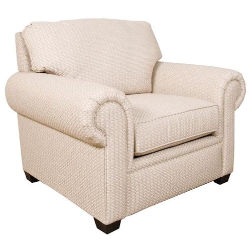 England Brett Rolled Arm Chair with Exposed Block Legs