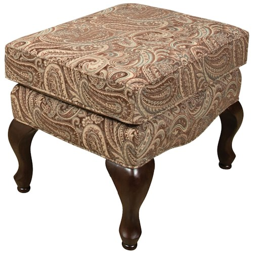 England Colleen Upholstered Ottoman with Cabriole Legs