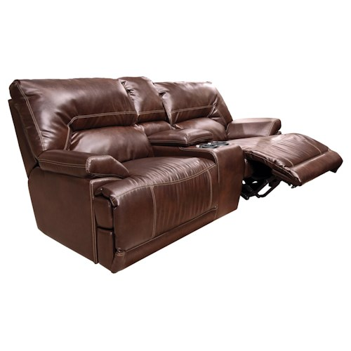 England Davis  Power Double Reclining Loveseat Console with Touch Sensor, Light and Accessories