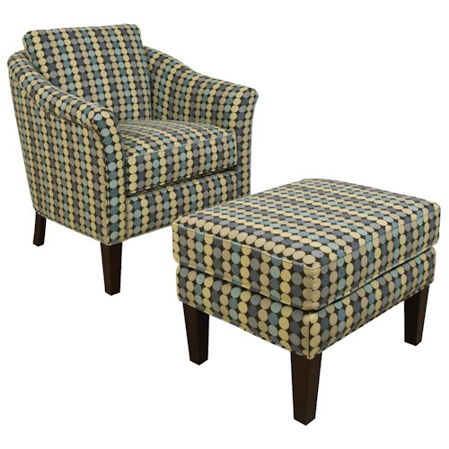 England Denise  Decorative Chair and Ottoman Set with Chic Transitional Style